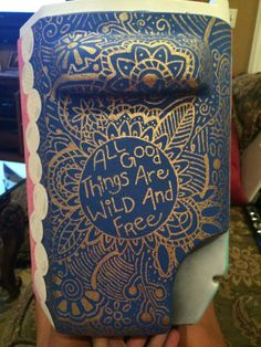 All Good Things Are Wild And Free Gold Hippie Boho Cooler