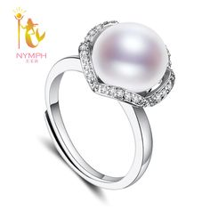 [NYMPH]Freshwater Pearl Rings Semi Round Natural Freshwater Pearl White Color Ring For Women Best Gift [J206]