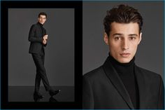 Model Adrien Sahores shows a sleek look in a twill dinner jacket, tuxedo pants, and a merino wool turtleneck sweater from H&M.