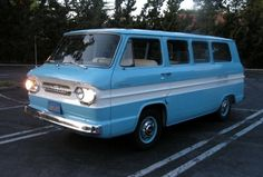 1961 Corvair Greenbrier Deluxe, blue and white.  I used to take our bikes to Venice Beach boardwalk in one like this but lime green & white.