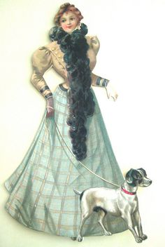 Vintage lady with Fox Terrier
