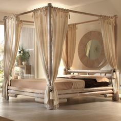 Himmelbett Bambusbett TABANAN 160 x 200 Möbel aus Bambus in weiss Bett aus…