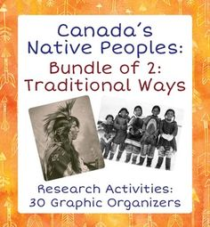Canadas Native Peoples: 30 Graphic Organizers - Traditional WaysThis bundle includes two sets of 15 Graphic Organizers to help students study and organize what they learn about Canada's Inuit and First Nations peoples.  The first set of 15 includes: 3 organizers on each of the following 5 Aboriginal peoples of Canada  Inuit, Haida, Blackfoot, Iroquois (Haudenosaunee), and Mikmaq (Micmac).
