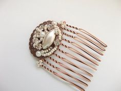 Wedding Hair Comb Rhinestone in Antique Copper Vintage Style Wedding Hair Piece Bridal Hair Accessories Upcycled Repurposed. $33.00, via Etsy.