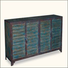Midnight Shadow Industrial Iron Double 2-Shelf Storage Buffet Cabinet