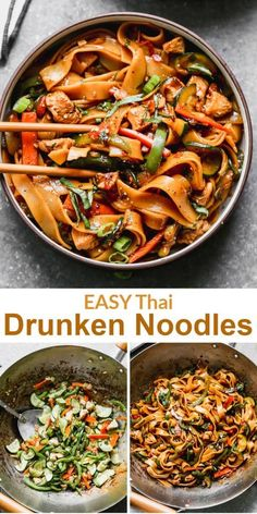 Drunken Noodles (Pad Kee Mao) You might as well be on the streets of Thailand with this EASY, fast, and fiery Drunken Noodles recipe that's ready 30 minutes! Pasta Dishes, Thai Dishes, Food Dishes, Thai Cooking, Asian Cooking, Asian Recipes, Healthy Recipes, Ethnic Recipes, Thai Food Recipes Easy