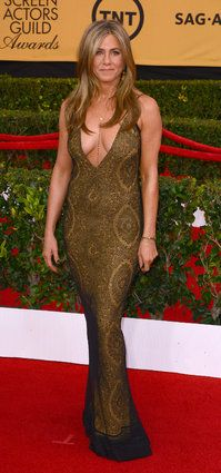 SAG Awards Red Carpet 2015 - Jennifer Aniston in Galliano designed brown/copper gown.