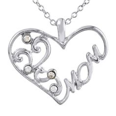 """SEXY SPARKLES """" Mom """" Heart Pendant Necklace, Valentines Day, Mothers Day Gift for Mom"""