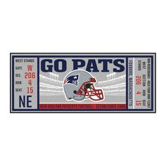 Are you a die-hard NFL fan? Then you need your favorite teams game Ticket Runner! This is the perfect way to show your loyalty, while adding style to your home. with nylon carpet and non-skid recycled vinyl backing. Nfl Tickets, Patriots Gifts, New England Patriots Game, New England Patriots Wallpaper, Messi Gif, Ticket Design, Nylon Carpet, Team Games, Funny