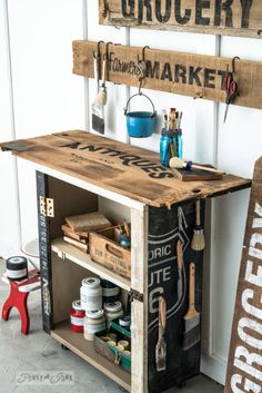 From cupboard to antique paint and stencil cart using Fusion Mineral Paint and Old Sign Stencils / FunkyJunkInteriors.net
