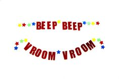 Beep Beep Vroom Vroom Kid's Birthday Party Garland, Party Decor, Car Theme Party, Primary Colors Star Garland by PartyMadePretty on Etsy https://www.etsy.com/listing/472307690/beep-beep-vroom-vroom-kids-birthday