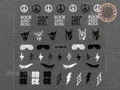 Black White Rock and Roll Adhesive Nail Art Sticker - 1 pc - WiiNo Shop Modern Nails, Nail Art Stickers, Rock And Roll, Nail Art Designs, Adhesive, Black And White, Products, Image, Black White