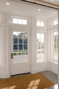 door and windows. Vestibule where bench seat is