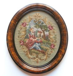 Handcrafted Needlepoint Art Colonial Lady Framed from midcenturygallery on Ruby Lane