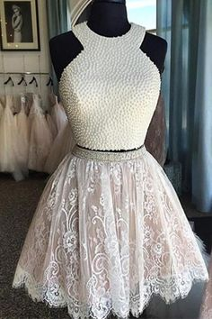 #Homecoming #Dress Sexy Two-piece Halter White Lace Homecoming Dress Beaded  white homecoming dress,two-piece homecoming dress,sexy homecoming dress,lace homecoming dress