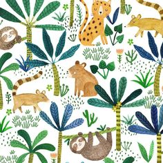 A jungle pattern I made a while ago #pattern #sloth #capybara #coati #southamerican