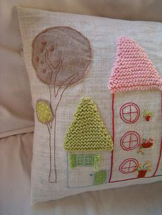 House Cushion by Isabel, rosa e chocolat on flikr. These are so gorgeous!!! love the round windows and flowerpots.