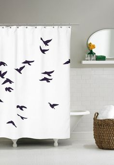 Shower curtain with Birds. With this shower curtain from Home Junkie you get the Scandinavian style into your bathroom. It is delicate, simple and easy in its expression, which is a nice complement to the bathroom.