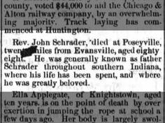 Rev. John Schrader died at Poseyville.