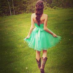 Dress, hair, country, mint green!