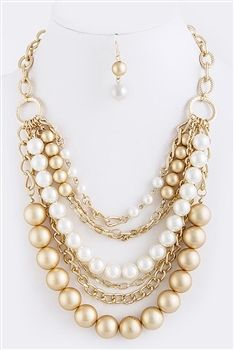 Chunky Pearl and Gold Tone Chain Necklace and Earrings at Southern Fried Chics