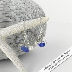 The beauty of Cornflower Blue Sea Glass with Swarovski crystals and genuine pearls.