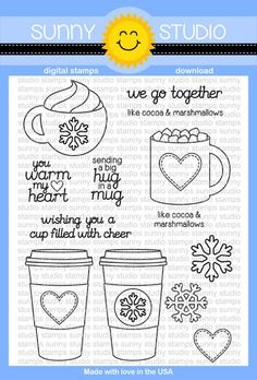 Sunny Studio Hot Drinks~Warm Hearts Coffee & Hot Cocoa Digital Stamps