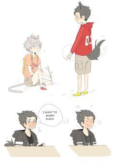 Puppy Daichi and Kitten Suga ♡ [x] daisuga Haikyuu Karasuno, Haikyuu Funny, Haikyuu Fanart, Haikyuu Ships, Kagehina, Daisuga, Hinata, Haikyuu Volleyball, Volleyball Anime