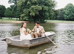 Bride whisked away on a boat by Groom at their Chalet Robinson Wedding in Brussels, Belgium photographed on film by Maitha Lunde