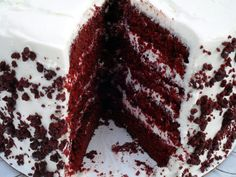 Blue Ribbon Red Velvet Cake - This recipe has a whopping half-cup of Dutch-processed cocoa, which is more than any other red velvet recipe I've found, and it gives the cake a nice devil's food flavor, far superior to the other from-scratch red velvet cakes I've made, where the frosting was the best part about them.  With this one, the cake itself is just as good as the creamy frosting.