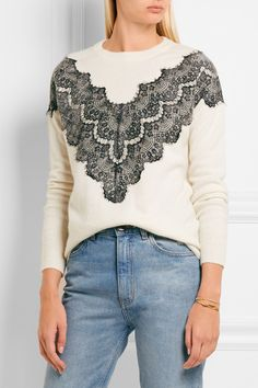 Maje | Malto lace-paneled knitted sweater | NET-A-PORTER.COM
