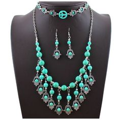 Mia Mi Glam Boutique - Natural turquoise 4 piece peace necklace jewelry set, $34.99 (http://www.miamiglamboutique.com/natural-turquoise-4-piece-peace-necklace-jewelry-set/)