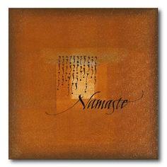 Alice Young, Namaste. Acrylic on canvas. #calligraphy