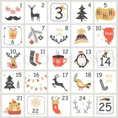 Illustration of Christmas Advent calendar with hand drawn elements. Xmas Poster Vector illustration vector art, clipart and stock vectors. Christmas Countdown, Christmas Coal, Christmas Poster, Kids Christmas, Christmas Crafts, Xmas, Advent Calenders, Diy Advent Calendar, Calander