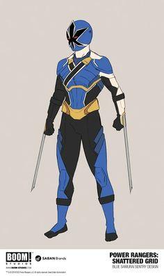 Power Rangers Shattered Grid Blue Samurai Sentry design