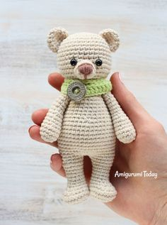Cuddle Me Bear Amigurumi Pattern This little crochet bear is always ready for a sweet and squishy hug! Create one in your favorite color :) The Cuddle Me Bear Amigurumi Pattern will take y Crochet Patterns Amigurumi, Amigurumi Doll, Crochet Dolls, Knitting Patterns, Crochet Teddy Bear Pattern, Stuffed Animal Patterns, Crochet Animals, Baby Knitting, Simple Knitting