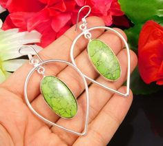 Lovely Green Copper Turquoise .925 Silver Handmade Earring Jewelry JC319 #Handmade