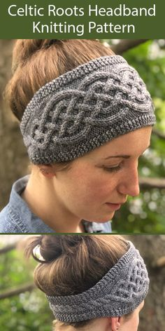 Knitting Pattern for Celtic Roots Headband for 76 84 yds 77 m) worsted weight yarn - Haare Stylen Easy Knitting, Knitting Patterns Free, Knitting Yarn, Crochet Patterns, Bead Patterns, Knit Headband Pattern, Knitted Headband, Knitted Hats, Knitted Mittens Pattern