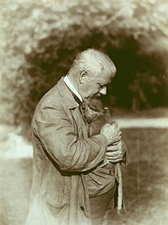 Artist Gabriel von Max with a little monkey, ca 1905.
