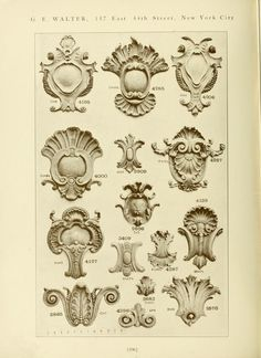 Catalog of Capitals, brackets and compo ornament for exterior and interior decoration Wood Carving Patterns, Carving Designs, Baroque, Rococo, Architecture Classique, Architecture Details, Ornament Drawing, Architectural Columns, Decorative Plaster
