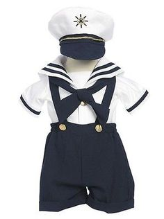 Baby Boys Clothing And Accessories: New Baby Toddler Boys Nautical Navy Sailor Short Suit Set Outfit With Hat 160F -> BUY IT NOW ONLY: $30.99 on eBay!