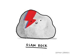 glam rock by gemma correll (inspired by Aladdin Sane) #art #illustration #pun