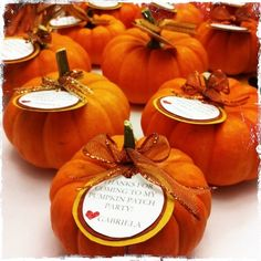 Pumpkin Favors I made for my daughters first birthday party. We had it at a Pumpkin Patch. Just used different kinds of craft paper, printed on text on canvas paper, embossed the heart, hot glue everything together add a bow and wala! Fall First Birthday, Pumpkin First Birthday, October Birthday, First Birthday Parties, Birthday Ideas, First Birthday Favors, Pumpkin 1st Birthdays, Pumpkin Birthday Parties, Halloween Birthday