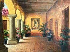Mexican Artwork, Mexican Folk Art, Mexican Style, Hacienda Homes, Hacienda Style, Jesus Helguera, Latino Art, Cactus Painting, Mexico Art