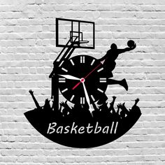 29$ wooden wall clock #Basketball, #Giftsforbasketballplayer, #Basketballgift, #Basketballplayer, #Basketballcoach, #Basketballdecor, #Basketballart, #Basketballwall  by lovelygift4you on Etsy