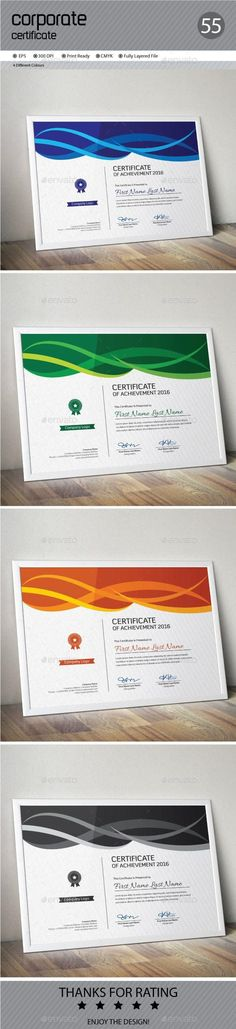 Buy Certificate by ConceptFactory on GraphicRiver. Certificate is especially for Corporate or Professional use. 4 different color and easy to modify. Just select the gl. Stationery Printing, Stationery Templates, Stationery Design, Letter Templates, Print Templates, Card Templates, Design Templates, Certificate Of Appreciation, Certificate Of Achievement