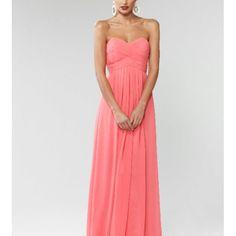 Coral long bridesmaid dress