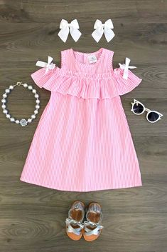 Pink Stripe Sunkissed Shoulder Dress - Sparkle In Pink Dresses Kids Girl, Little Girl Outfits, Toddler Outfits, Cute Dresses, Kids Outfits, Baby Girl Fashion, Kids Fashion, Hijab Style, Toddler Girl Style