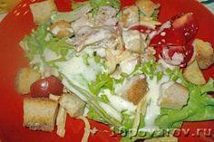 Классический салат цезарь с курицей и сухариками Cobb Salad, Tacos, Ethnic Recipes, Food, Meals