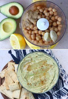 Avocado Hummus.  avocado kikkererwten knoflook citroen